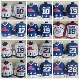 Argentina Quebec Nordiques 10 Guy Lafleur13 Sundin 19 Joe Sakic 17 Wendel Clark 21 Forsberg 22 Mario 26 Blanco azul Hockey sobre hielo Jerseys Suministro