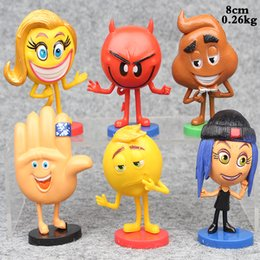 Wholesale Hot Figures Toys For Children - Hot Sale 6pcs Lot 8cm The Emoji Movie Catroon Action Figure PVC Brinquedo Toys For Child Gifts