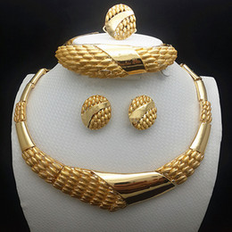 Wholesale Earing Beads - Exquisite fashion Jewelry Set Luxury Gold-color Big Nigerian Wedding African Beads Jewelry Set necklace & earing Costume Design