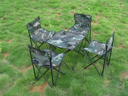 Wholesale Folding Garden Tables - Wholesale-5Pcs set Portable Camouflage Outdoor Camping Picnic Fishing Garden Desk Folding Foldable Table and Chair Set