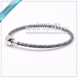 Wholesale Braided Bracelets Fit European - Wholesale- Woman jewelry Fashion Silver Grey Double Braided Leather Leather Bracelet with S925 Silver Clasp Clips Fit European Charm Beads
