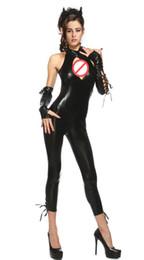 Wholesale Capri Jumpsuits - Unique Design Women's Black Catwoman Chest Hollow Out Catsuit Halloween Cosplay Costume Sleeveless Bodysuit Sexy Capri Jumpsuit