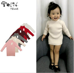 Wholesale Korean Little Baby Girl Dress - Cute Kitted Sweater Dress for Baby Girls Korean Little Girls Dresses Autumn Winter Long Sleeve Cotton dress for Kids