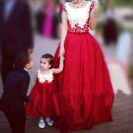 Wholesale Dresses Children Girl Plus Size - 2017 New Christmas Lace Appliques Long Baby Girls Mother Children Pageant Party Dresses Custom Made Kids Prom Women Evening Redcarpet Gowns