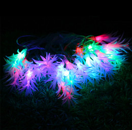 Wholesale Leaves String Lights - Wholesale-AC220V 4M 20LEDs Pinecone Leaves Multicolor LED String Light Fairy Christmas Garland With EU Plug For Home Wedding Decoration