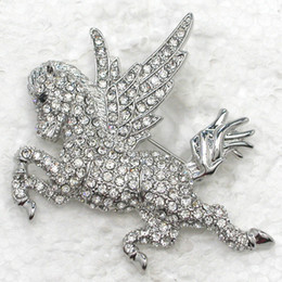 Wholesale horse brooches - Wholesale Fashion Brooch Rhinestone Angel horse Pin brooches jewelry gift C101563