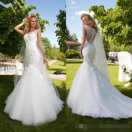 Wholesale Gold Fish Tail Dress - 2016 Modern New Arrival Mermaid Wedding Dresses Bateau Sheer Neck Lace Appliques Beautiful Fish Tails Floor Length Bridal Gown Plus Size