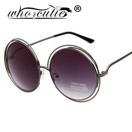 Wholesale Around Circle - Wholesale- WHO CUTIE Brand Vintage Oversize Round Sunglasses Women Alloy Around Hollow Frame Designer Fashion Circling Sun Glasses UV400