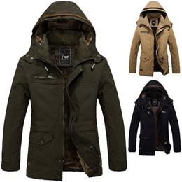 Wholesale Men Warm Winter Coat Khaki - Men's Winter Warm Coat Boys Jacket Cotton Fleece Hooded Jacket Men Overcoat Large Size For Winter Autumn