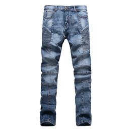Wholesale Jeans Pant Folding - Wholesale-Fashion Men Jeans New Arrival folds Design Slim Fit Fashion Skinny motorcycle biker Jeans For Men Good Quality Blue Black Y2031