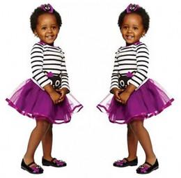 Wholesale Baby Shirt Straps - kids boutique skirt set designer toddlers girl dress strap tos purple top shirt baby clothing set infant bodysuit next babies clothes
