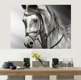 Wholesale Modern Art Canvas China - Modern Home art wall decor Free shipping China painting A horse based on black and white Picture Printed on canvas