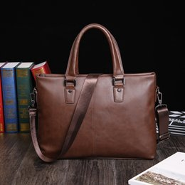 Wholesale Man Briefs Case - new retro vintage Briefcase crazy horse Men Leather Bags Male Shoulder brief case Business Bags portfolio Men Briefcases Leather Laptop bag