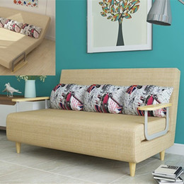Wholesale Wood Sofa Feet - Intelligent Design Classic Fabric Sofa Bed with 2 Rubber Wood Arms with Rubber Frame Armrest and Feet Adjusting Backrest F01D3 197*100cm