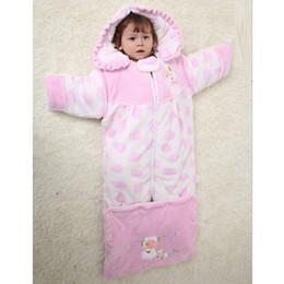 Wholesale Polka Dot Baby Blanket - Baby Girls Sleep Bag Fleece Thick Blankets Polka Dot Sheep Hooded Sleeping Sack Newborn Envelope Sleepsacks Top Quality Flannel