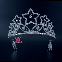 Wholesale Bridal Party Presents - Shining Stars Pageant crowns Rhinestone Hair Comb Accessories Present For Woman Party Bridal Tiaras Girls Headpieces 02309