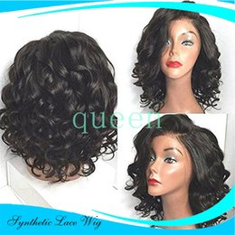 Wholesale Cheap Wig Blonde Short - Cheap short wavy wigs synthetic lace front wig for black women glueless synthetic lace front wig heat resistant hair no lace wig
