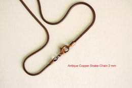 """Wholesale bulk brass chain - 2MM Antique Copper Smooth Snake Chains Necklace Jewelry 16-24"""" Chain Mix Size Bulk DHL FREE SHIPPING"""