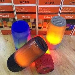 Wholesale Sound Speakers Mp3 - PULSE3 LED Bluetooth Speaker Music Pulse 3 Colorful Wireless Sound Waterproof Double Subwoofer U Disk Card FM