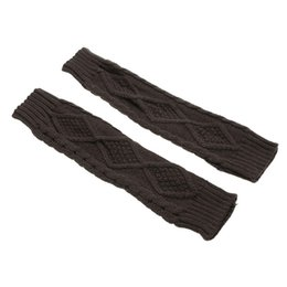 Wholesale Knit Arm Warmers - Wholesale- 30cm Women Knitting Arm Fingerless Gloves Long Mitten Soft Warm Winter 6 Colors