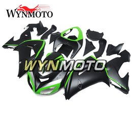 Wholesale Plastic Mold Cover - Black Green Complete Fairings for Kawasaki ZX-10R ZX10R 2006 2007 06 07 Injection Plastics Motorcycle Fairing Kit ABS Covers Bodywork