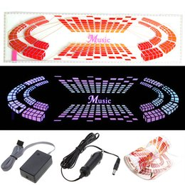 Wholesale Equalizer Sticker Light - Car-styling Car Sticker Music Rhythm LED Flash Light Lamp Voice-activated Equalizer Automobiles Car-detector Stickers