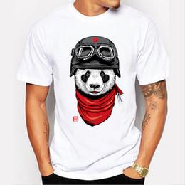 Wholesale Panda Tee Shirts - Newest 2017 men's fashion short sleeve cute panda printed t-shirt Harajuku funny tee shirts Hipster O-neck cool tops