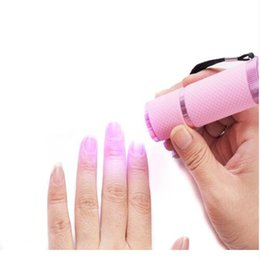 Wholesale Uv Hand Lamp - Wholesale- New Brand New 1PC- UV Gel Nail Dryer Curing led Lamp light Acrylic Gel Battery power Magic use for hand finger nail tool