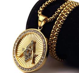 18 k vergoldeter anhänger halskette online-Freimaurer Freimaurer Hip Hop Hop Halskette Anhänger Schmuck 18 k Vergoldung verblassen nicht