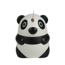 Wholesale Toothpicks Dispensers - Wholesale- creative Plastic Panda Automatic toothpick box Container Dispenser Holder lovely table accessories toothpick jar