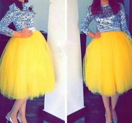 2019 billig mitte kalb kleider Bright Yellow Tüll Röcke New Fashion Mid-Calf Tutu Röcke für Frau Günstige Prom Party Kleider Maßgeschneiderte Mädchen Formal Wear günstig billig mitte kalb kleider