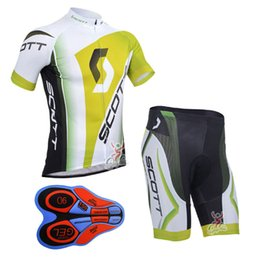 Wholesale Gel Pads For Bikes - Scott 2017 Men Short Sleeves Cycling Jerseys Compressed With 9D Gel Padded Bib Pants Summer Style For Size S-4XL Bike Wear F2201