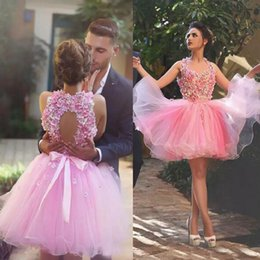 Wholesale Halter Top Club Dresses - Charming Pink Tulle Short Homecoming Dresses Sleeveless 3D Flowers Top Open Back Custom Made Cocktail Party Gowns Short Prom Dress