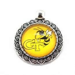 Wholesale New Necklace Jacket - New alloy glass pendant 10pcs lot NCAA Georgia Tech Yellow Jackets sports team charms fit necklace fashion jewelry
