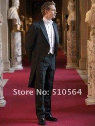 Wholesale Men Long Paragraph Suit - Free shipping Wholesale White one button Groom suit morning coat Wedding Groomsman cutaway Yanwei paragraph lonmen suit Men Bridegroom Suits