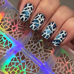 Wholesale Triangle Nail Stickers - 12 Tips Sheet Irregular Triangle Pattern Nail Vinyls Nail Art Manicure Stencil Stickers