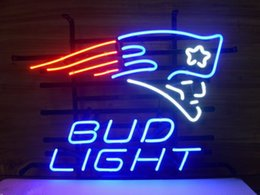 """Wholesale Sports Neon Lights - 17""""x14"""" Bud Light England PATRIOTS Handcrafted Real Glass Neon Sign Beer Sports Bar Club Light Home Decor"""