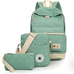 Wholesale Canvas Dots Backpacks For Girls - Fresh Canvas Women Backpack Big Girl Student Book Bag with Purse Laptop 3pcs Set Bag High Quality Ladies School Bag for Teenager