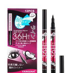 Eye-liner bleu noir en Ligne-ANQINA 36h eyeliner imperméable maquillage yanqina Crayon Noir Marron bleu violet 4 Couleurs Stylo Liquide Doublure Pour Les Yeux Cosmétiques Longue Durée