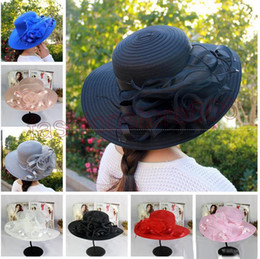 Wholesale Organza Wedding Hats - New womens Kentucky Derby Wedding Church Party Floral Hat elegant wide brim sun summer hats Organza Hats for women 7 colors top quality