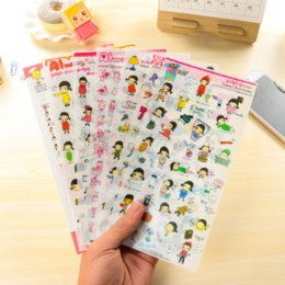 Wholesale Diary For Girls - Wholesale- 6Pcs pack Kawaii girl PVC Stickers For DIY Albums Diary Decoration Cartoon Scrapbooking Kawaii School Office Stationery