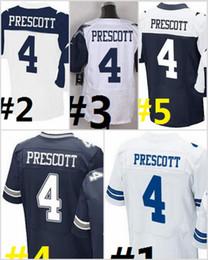 Wholesale Elite Stitch Football Jerseys - 2017 Elite Football Stitched 2016 Draft #4 DAK PRESCOTT White Blue Thanksgiving Throwback Jerseys Mix Order