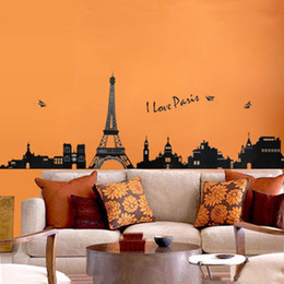 Wholesale Eiffel Tower Stickers - Eiffel Tower Wall Stickers Decorative Kids Bedroom Living Room Art Decal Removeable Wallpaper Mural Sticker for Room Girls Adhesive