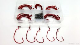 Wholesale Bait Rigging - Fishing Hook OffSet Hooks Worm Series Hook Red Color Jig Big Fish hook Bass Lure Soft Bait Texas Rig fishhook Carbon Steel Lures Soft Pin To