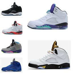 Wholesale Blue Green Beans - 2017 High Quality air retro 5 Basketball Shoes metallic Silver Grape Laney Green Bean Mark Ballas bin space jam camo sport sneakers Boots
