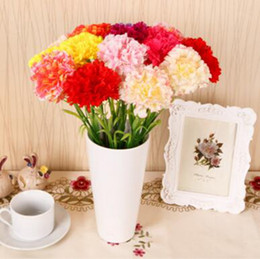 Wholesale Valentine Bouquets - Carnations Artificial Flowers Bouquet Simulation Silk Flower Mother's Day Gift Home Wedding Decor Girl Valentine Supplies 6 Colors YW161