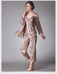 Wholesale Plus Size Silk Pajamas - Satin pajama sets pyjamas women sexy lingerie plus size silk pajamas for women long sleeve v neck woman sleepwear print SJYT97