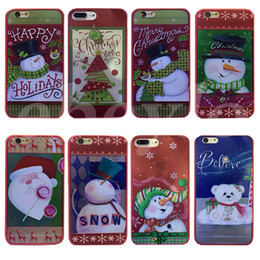 Wholesale iphone snowman - Christmas Phone Case For iPhone 5 6 6S 7 Plus Hard Plastic Cover Xmas Gift Party Supply Santa Snowman Present Supplies Free Shipping