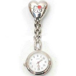 Wholesale Cute Wholesale Stationary - 2016 Personalized Nurse Pocket Watch Movement Professional Alloy Nurse Watch Cute Cat Doctor ChildrenGirl Boy Watches