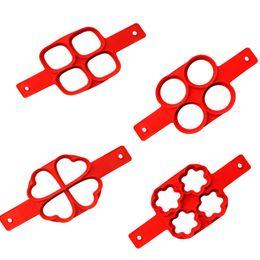 4 disegni Pancake in silicone Stampi ad anello per uova Fantastico Facile da preparare Stampi da cucina antiaderente per frittate da